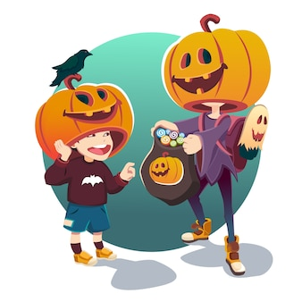 Halloween. bambini in costume per halloween