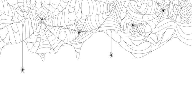 Sfondo ragnatela di halloween spettrale ragnatela appesa strappata con sfondo vettoriale di ragni neri