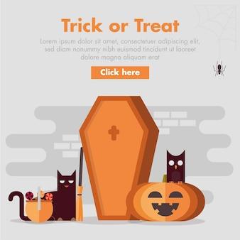 Illustrazione piana di progettazione della bara di halloween