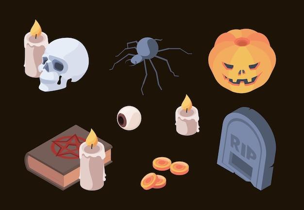 Collezione di halloween. simboli horror spaventosi ossa del cranio cimitero tomba fantasmi vettore elementi isometrici impostati per la celebrazione autunnale. lapide spaventosa di halloween, illustrazione di elementi colorati