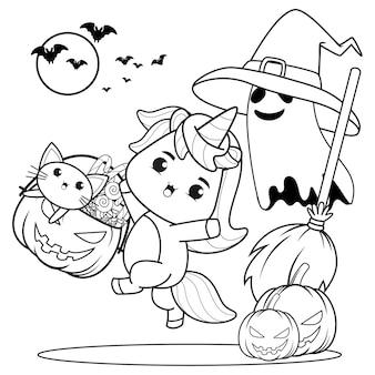 Libro da colorare di halloween strega bambina carina13