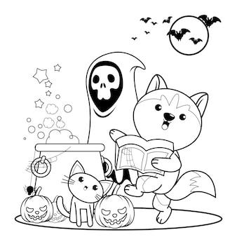 Libro da colorare di halloween strega bambina carina19