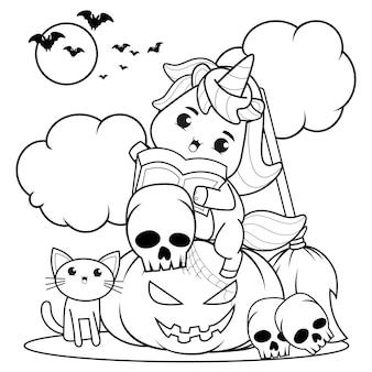 Libro da colorare di halloween bambina carina strega24