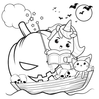 Libro da colorare di halloween strega bambina carina27