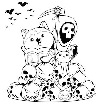 Libro da colorare di halloween strega bambina carina28