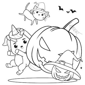 Libro da colorare di halloween strega bambina carina7