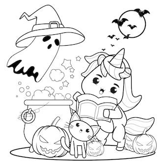 Libro da colorare di halloween con unicorno carino19