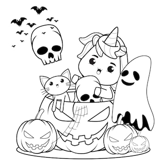 Libro da colorare di halloween con unicorno carino25