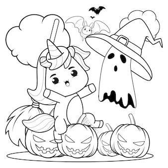 Libro da colorare di halloween con unicorno carino2