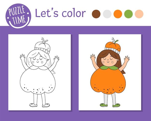 Pagina da colorare di halloween per bambini. ragazza carina e divertente vestita da zucca. illustrazione del profilo di vacanza autunnale di vettore. dolcetto o scherzetto libro di colori per feste in maschera per bambini con esempio colorato