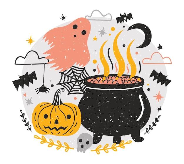 Composizione di halloween con vaso da strega pieno di pozione, zucca jack-o'-lantern, fantasma contro il cielo notturno, ragni e pipistrelli volanti sullo sfondo. illustrazione vettoriale di vacanza in stile cartone animato piatto.