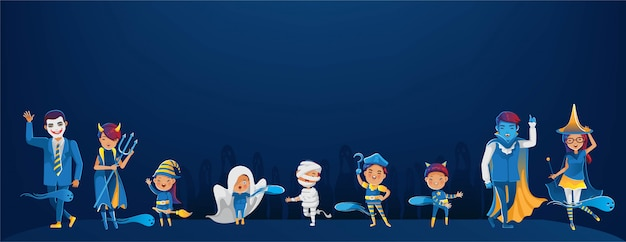 Personaggio in costume di halloween per bambini e adolescenti.