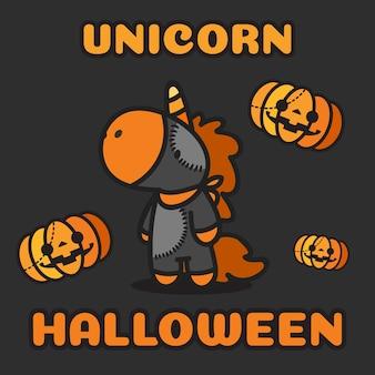 Halloween costume unicorno e zucche che volano intorno.