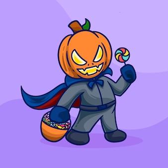 Costume di halloween con maschera di zucca cartone animato