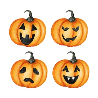 Set zucca raccapricciante di halloween facce buffe dipinte a mano dell'acquerello. vacanze autunnali.