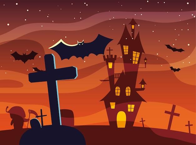 Tomba trasversale di halloween davanti al disegno del castello