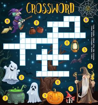 Griglia cruciverba di halloween, gioco puzzle di parole