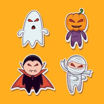 Set di icone di halloween simpatico personaggio dei cartoni animati. set di adesivi di halloween. zucca, fantasma, vampiro, mummia