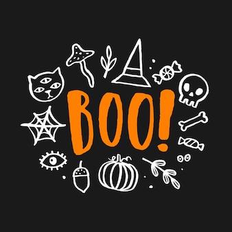 Illustrazione carina di halloween. scritte e scarabocchi disegnati a mano.