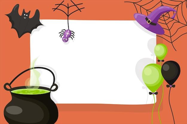 Halloween carino invito o modello di biglietto di auguri cartoon illustrazione vettoriale