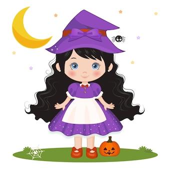 Carattere carino strega di halloween