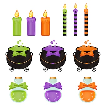 Oggetti e candele svegli della strega di halloween