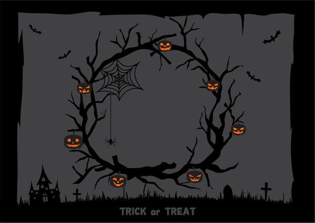 Sfondo scuro di halloween con ghirlanda di rami e zucche lanterne