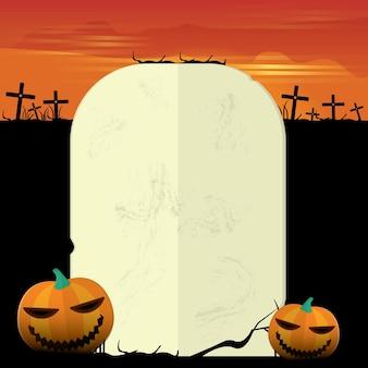 Cimitero oscuro di halloween con zucca