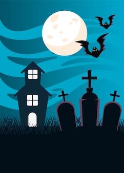 Castello infestato scuro di halloween e pipistrelli che volano nel cimitero