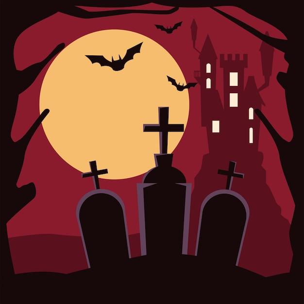 Castello infestato scuro di halloween nella scena del cimitero