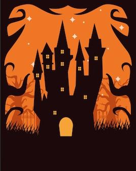 Scena oscura del castello infestato di halloween