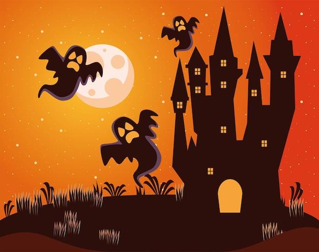 Castello infestato scuro di halloween con fantasmi alla scena notturna