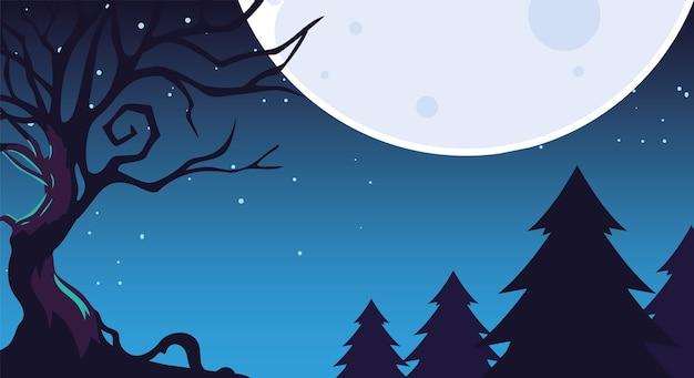 Sfondo notte oscura di halloween con foresta spaventosa