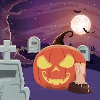 Scena oscura di halloween con il cimitero
