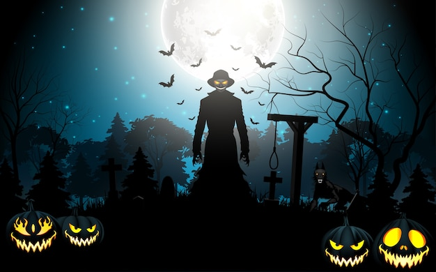 Morte di halloween con grim reaper e zucche nel cimitero