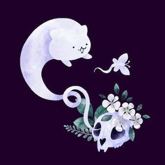 Fantasma di gatto di design di halloween con teschio e fiori