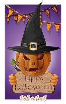 Disegno di halloween. la zucca allegra tiene un cartello con un'iscrizione. simbolo di halloween jack-o-lantern in cappello nero della strega. illustrazione vettoriale