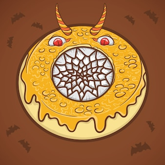 Illustrazione del mostro spaventoso ciambella di halloween Vettore Premium