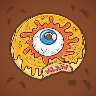 Ciambella di halloween con gli occhi e la melma gialla Vettore Premium