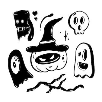 Illustrazione stabilita di doodle di halloween