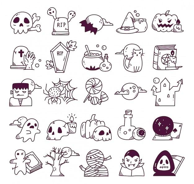 Insieme di doodle di halloween