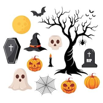 Insieme di elementi di halloween