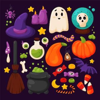 Set di elementi di halloween carino disegnato a mano in stile cartone animato cappello da strega calderone scopa pozione pipistrello