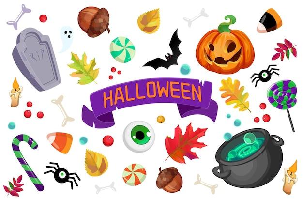 Set di elementi di halloween con ossa di zucca tomba dolci foglie calderone ragno