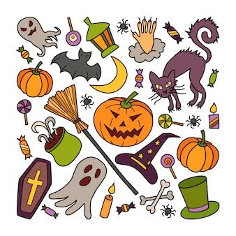 Insieme di elementi di halloween con zucca, fantasma e cappello da strega in stile doodle. illustrazione disegnata a mano