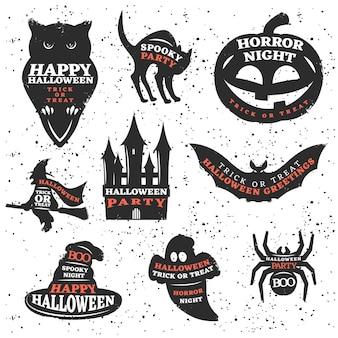 Insieme di elementi di halloween con citazioni