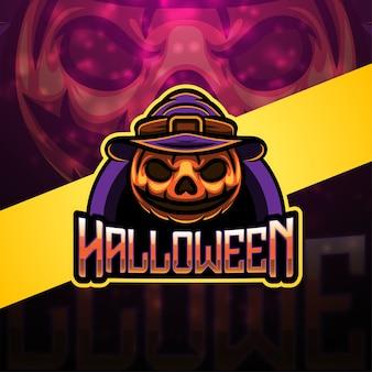 Disegno del logo mascotte di halloween esport