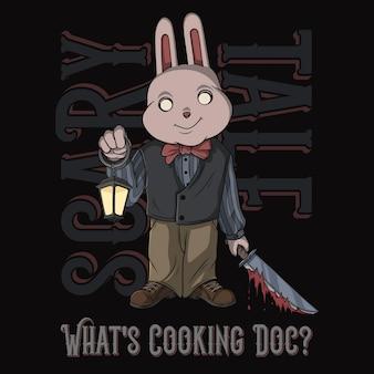 Illustrazione di vettore del coniglietto diabolico di halloween