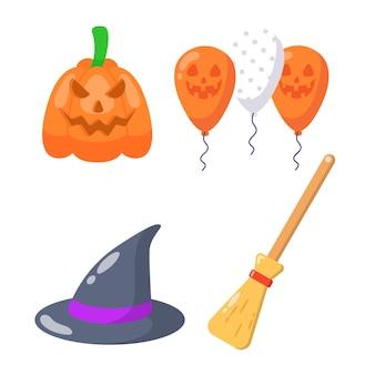 Insieme di elementi piatti di halloween.