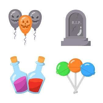 Collezione di set di icone piatte di halloween.